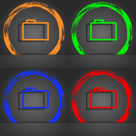 map case: Folder icon symbol. Fashionable modern style. In the orange, green, blue, green design. illustration