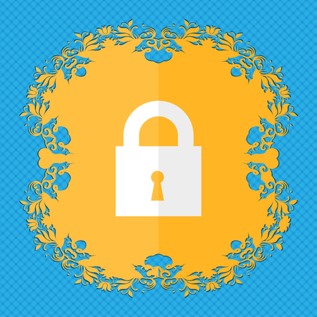 entrance is forbidden: closed lock. Floral flat design on a blue abstract background with place for your text. illustration
