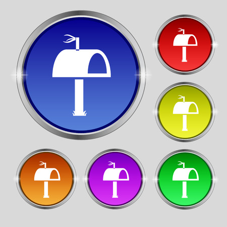 media distribution: Mailbox icon sign. Round symbol on bright colourful buttons. illustration Stock Photo