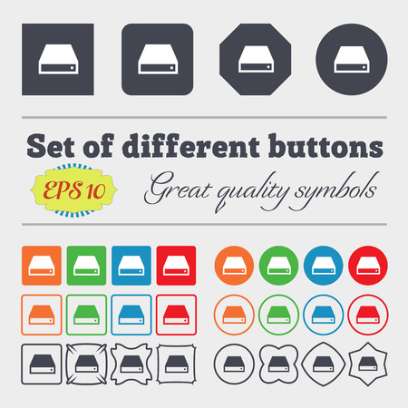 rom: CD-ROM icon sign Big set of colorful, diverse, high-quality buttons. illustration Stock Photo