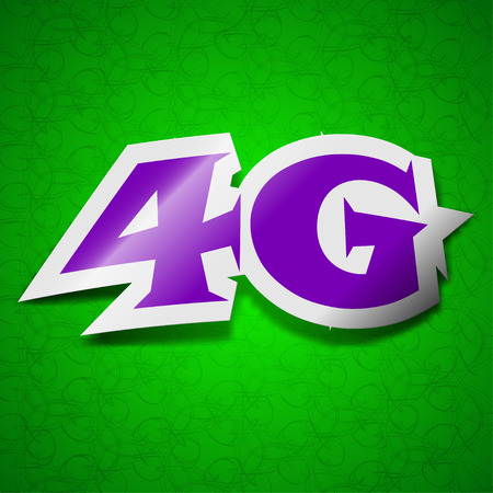 4g: 4G technology icon sign. Symbol chic colored sticky label on green background. illustration Stock Photo