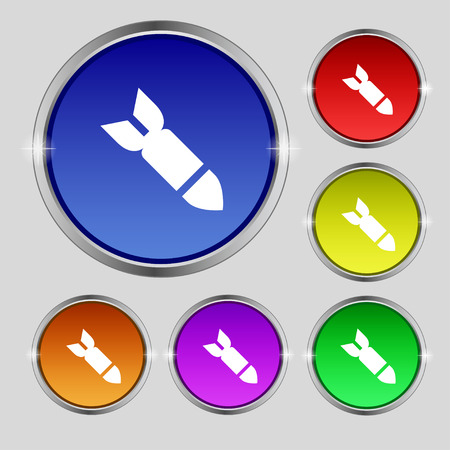 ballistic missile: Missile,Rocket weapon icon sign. Round symbol on bright colourful buttons. illustration