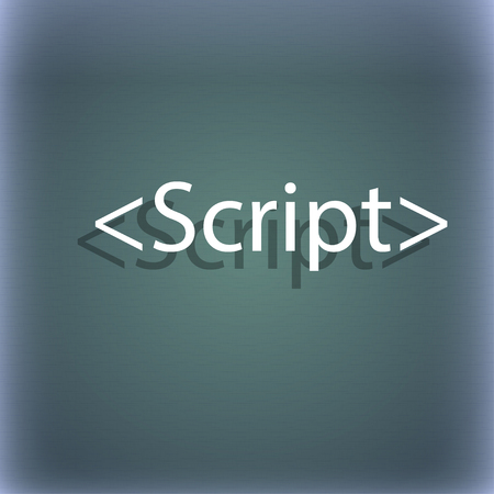 js: Script sign icon. Javascript code symbol. On the blue-green abstract background with shadow and space for your text. illustration