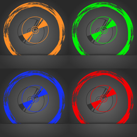 writable: Cd, DVD, compact disk, blue ray icon symbol. Fashionable modern style. In the orange, green, blue, green design. illustration
