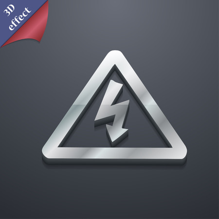 voltage symbol: voltage icon symbol. 3D style. Trendy, modern design with space for your text illustration. Rastrized copy Stock Photo