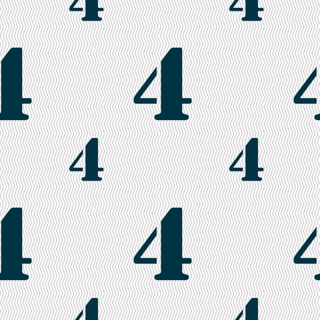 four texture: number four icon sign. Seamless pattern with geometric texture. illustration