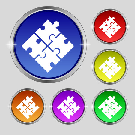 puzzle corners: Puzzle piece icon sign. Round symbol on bright colourful buttons. illustration