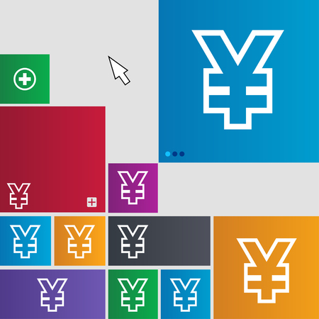 jpy: Yen JPY icon sign. buttons. Modern interface website buttons with cursor pointer. illustration Stock Photo