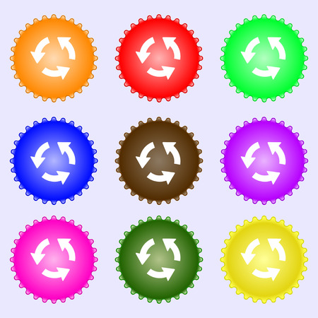 application recycle: Refresh icon sign. A set of nine different colored labels. illustration