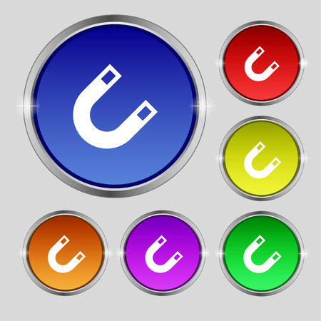 electromagnetism: magnet, horseshoe icon sign. Round symbol on bright colourful buttons. illustration