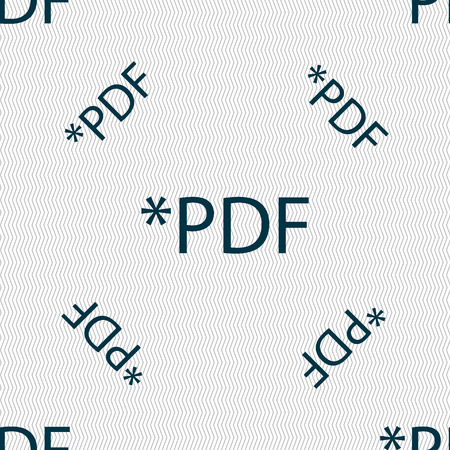 file extension: PDF file document icon. Download pdf button. PDF file extension symbol. Seamless pattern with geometric texture. illustration Stock Photo