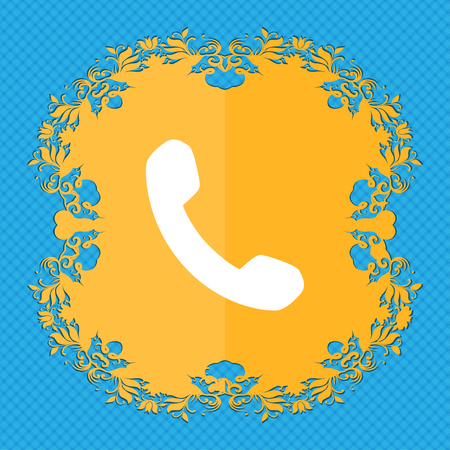 phone support: Phone, Support, Call center . Floral flat design on a blue abstract background with place for your text. illustration Stock Photo