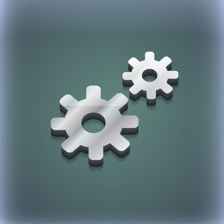 gear icon: Cog settings, Cogwheel gear mechanism icon symbol. 3D style. Trendy, modern design with space for your text illustration. Raster version