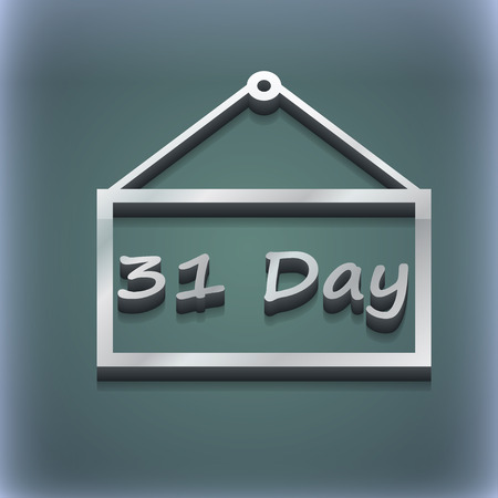 31: Calendar day, 31 days icon symbol. 3D style. Trendy, modern design with space for your text illustration. Raster version Stock Photo