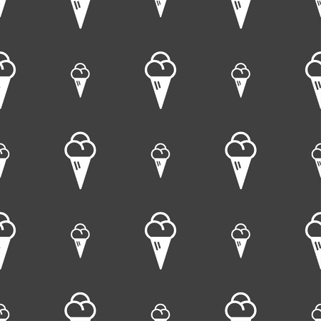 souffle: ice cream icon sign. Seamless pattern on a gray background. illustration