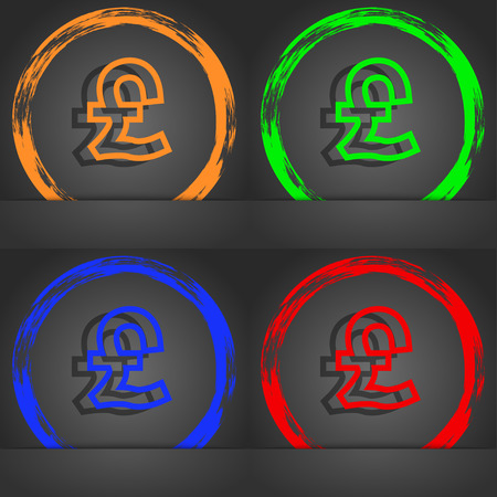 foreign currency: Pound Sterling icon symbol. Fashionable modern style. In the orange, green, blue, green design. illustration