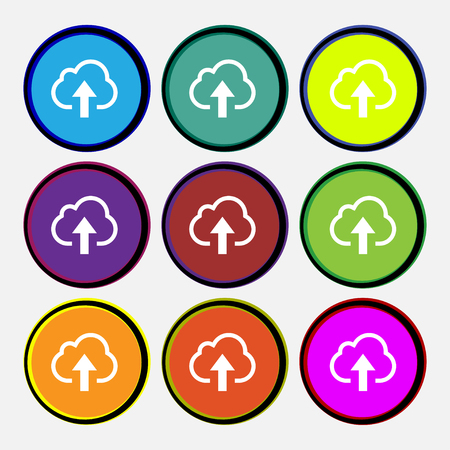 on cloud nine: Upload from cloud icon sign. Nine multi-colored round buttons. illustration