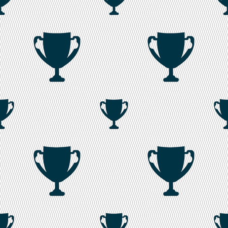 awarding: Winner cup sign icon. Awarding of winners symbol. Trophy. Seamless abstract background with geometric shapes. illustration