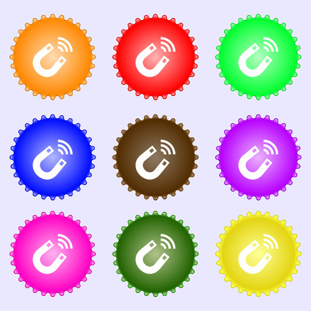 electromagnetic field: Magnet icon sign. A set of nine different colored labels. illustration Stock Photo