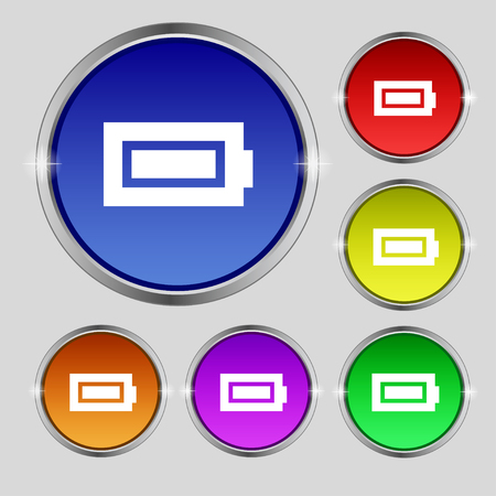 fully: Battery fully charged icon sign. Round symbol on bright colourful buttons. illustration