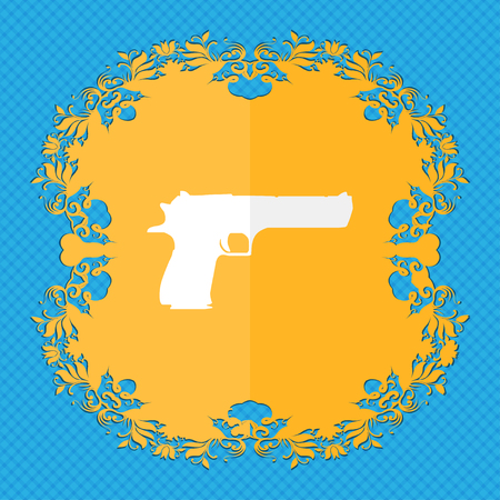 gas mask danger sign: gun. Floral flat design on a blue abstract background with place for your text. illustration Stock Photo