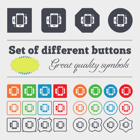 sync: Synchronization sign icon. smartphones sync symbol. Data exchange. Big set of colorful, diverse, high-quality buttons. illustration Stock Photo