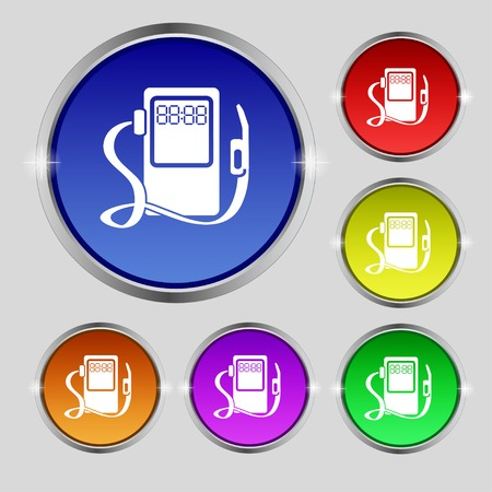 refuel: Gas, fuel station sign icon. symbol. Set of colored buttons. illustration