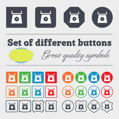 grams: kitchen scales icon sign. Big set of colorful, diverse, high-quality buttons. illustration