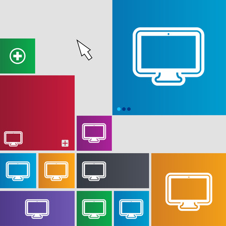 oled: monitor icon sign. buttons. Modern interface website buttons with cursor pointer. illustration