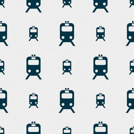 sea tanker ship: train icon sign. Seamless pattern with geometric texture. illustration