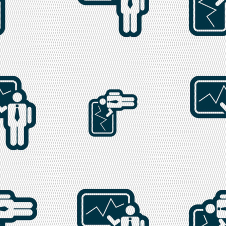 sign making: businessman making report icon sign. Seamless pattern with geometric texture. illustration Stock Photo