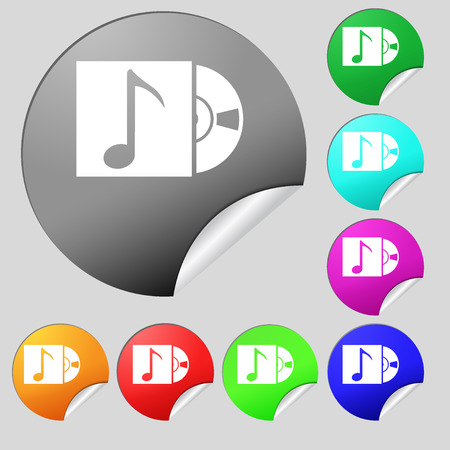 cd player: cd player icon sign. Set of eight multi colored round buttons, stickers. illustration