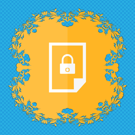 lockout: File unlocked icon sign. Floral flat design on a blue abstract background with place for your text. illustration