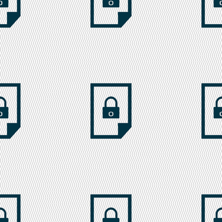 lockout: File locked icon sign. Seamless abstract background with geometric shapes. illustration Stock Photo