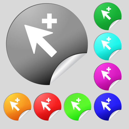 cursor arrow: Cursor, arrow plus, add icon sign. Set of eight multi colored round buttons, stickers. illustration