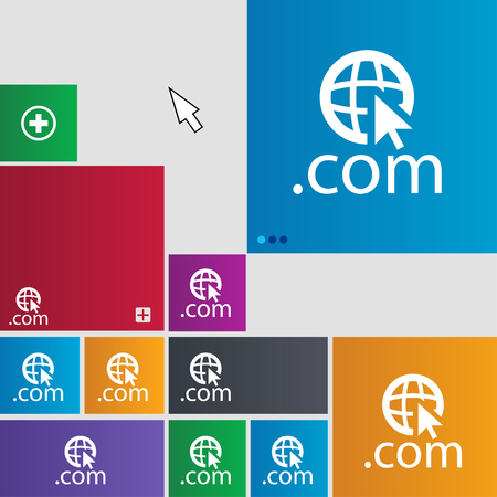 com: Domain COM sign icon. Top-level internet domain symbol.Set of colored buttons. illustration Stock Photo
