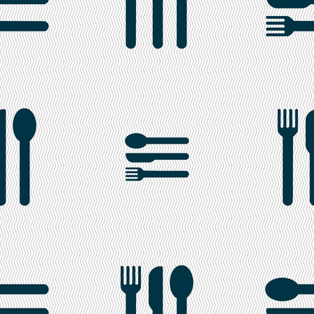 silver ware: fork, knife, spoon icon sign. Seamless pattern with geometric texture. illustration Stock Photo
