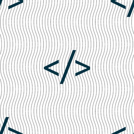 hypertext: Code sign icon. Programming language symbol. Seamless pattern with geometric texture. illustration Stock Photo