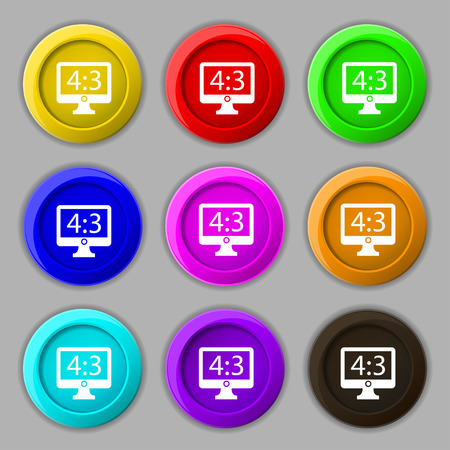4 3 display: Aspect ratio 4 3 widescreen tv icon sign. symbol on nine round colourful buttons. illustration