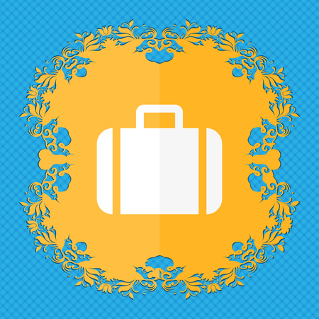 suit case: Suitcase . Floral flat design on a blue abstract background with place for your text. illustration