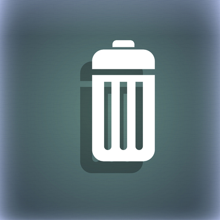 local supply: The trash icon symbol on the blue-green abstract background with shadow and space for your text. illustration