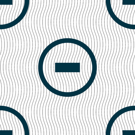 minus sign: Minus sign icon. Negative symbol. Zoom out. Seamless pattern with geometric texture. illustration