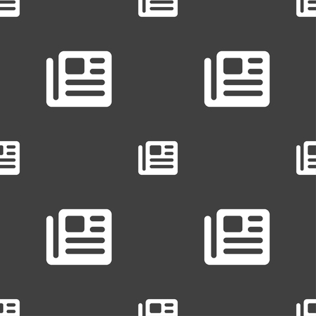 newspaper stack: book, newspaper icon sign. Seamless pattern on a gray background. illustration