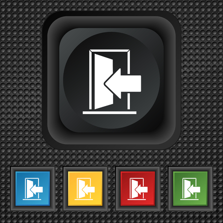 ajar: Door, Enter or exit icon sign. symbol Squared colourful buttons on black texture. illustration