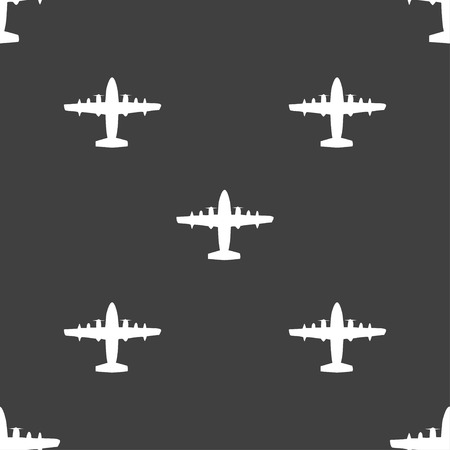 fighter pilot: aircraft icon sign. Seamless pattern on a gray background. illustration Stock Photo