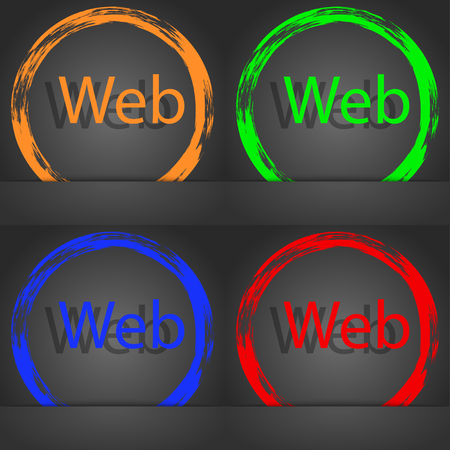 world wide: Web sign icon. World wide web symbol. Fashionable modern style. In the orange, green, blue, red design. illustration Stock Photo