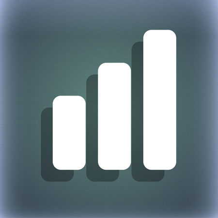 upturn: Growth and development concept. graph of Rate icon symbol on the blue-green abstract background with shadow and space for your text. illustration