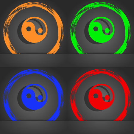 daoism: Ying yang icon symbol. Fashionable modern style. In the orange, green, blue, green design. illustration