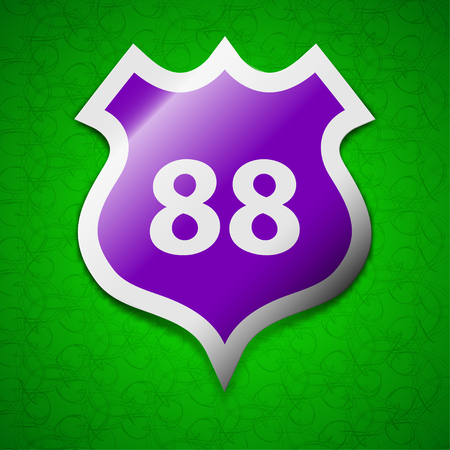 highway icon: Route 88 highway icon sign. Symbol chic colored sticky label on green background. illustration