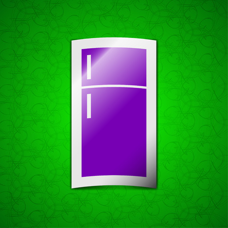 cold storage: Refrigerator icon sign. Symbol chic colored sticky label on green background. illustration Stock Photo